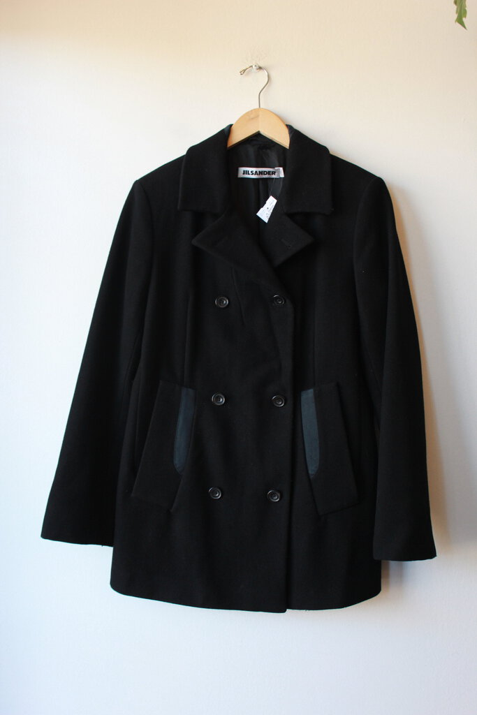 JIL SANDER BLACK WOOL PEACOAT WITH NAVY COTTON DETAILS SZ 40/US10 (FITS 6-8) (AS IS: SLIGHT WEAR)