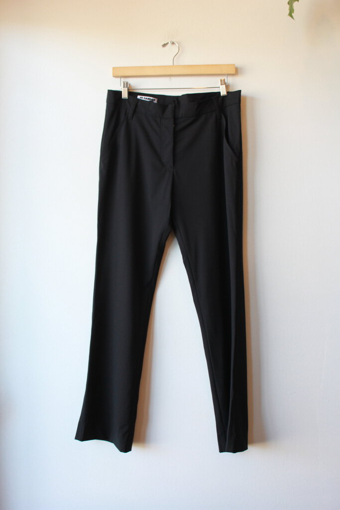 JIL SANDER BLACK WOOL STRETCH TROUSER, SZ 40/US 10
