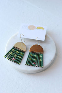 Passage Jewelry Beaded Pony Earrings in half circle dark/light green + pink