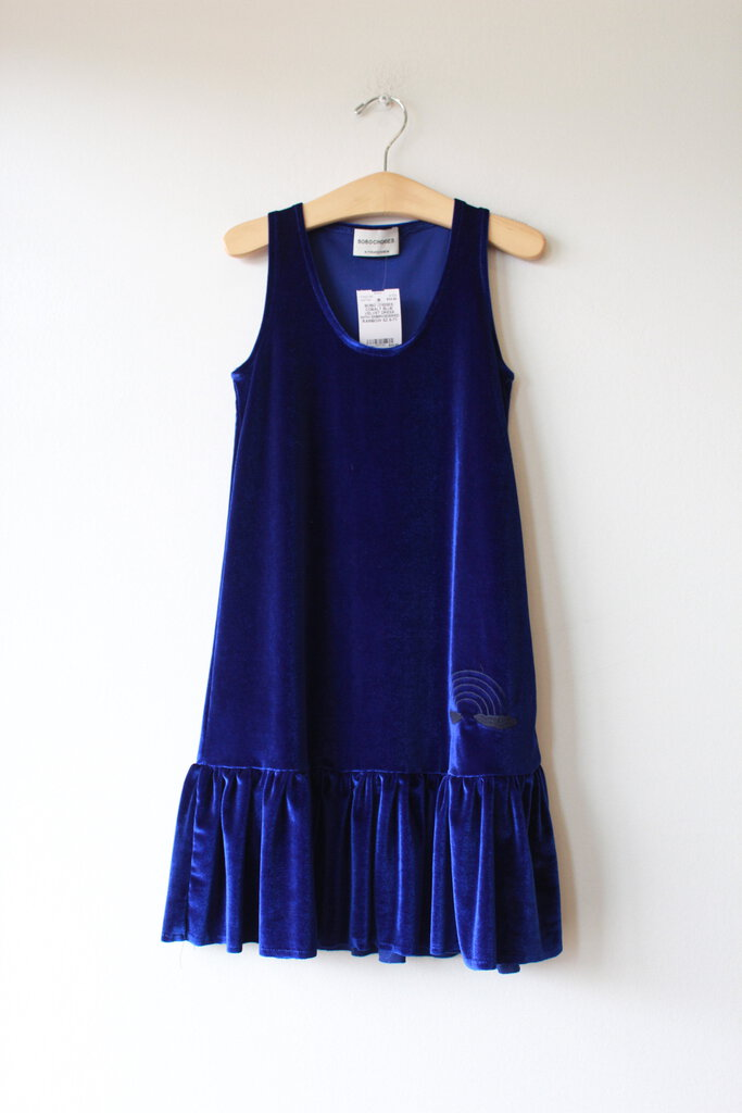 BOBO CHOSES COBALT BLUE VELVET DRESS WITH EMBROIDERED RAINBOW SZ 6-7Y