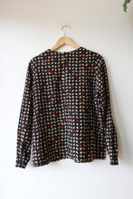 Load image into Gallery viewer, VINTAGE GIORGIO ARMANI BLACK RED TAN DOTS SIDE BUTTON WOOL/SILK BLEND TOP SZ M