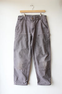 CARHARTT GREY DOUBLE KNEE WORK PANTS SZ 32X30 (FIT SZ 8-10)