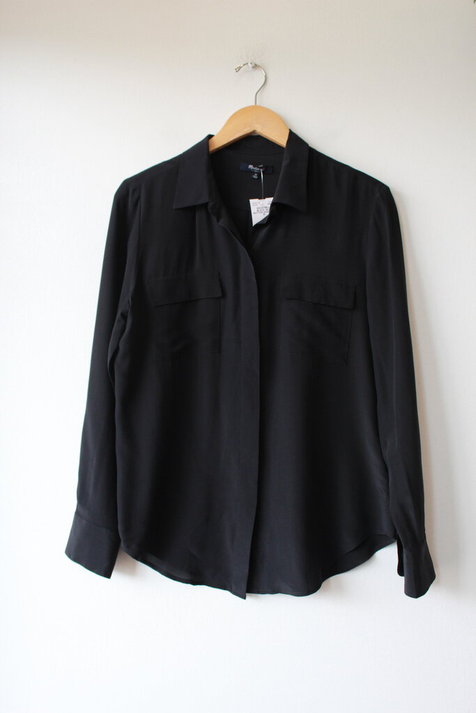 MADEWELL BLACK SILK BUTTON DOWN SZ M