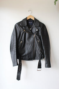 MADEWELL BLACK LEATHER MOTORCYCLE JACKET SZ S (RETAIL $498)
