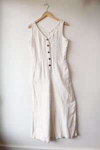 SOTELA IVORY STRIPED LINEN WIDE LEG JUMPSUIT SZ 1/S