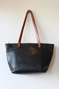 PORTLAND LEATHER LARGE ZIPPER TOTE IN BLACK (RETAIL $296)