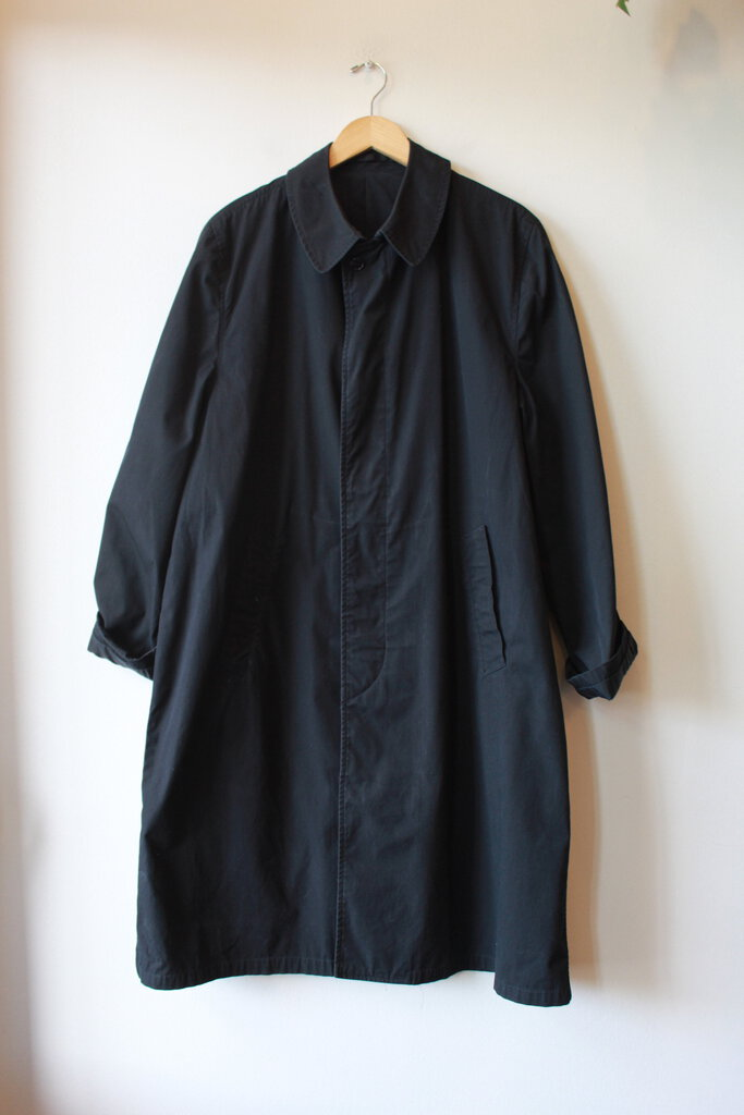 VINTAGE BLACK SERVICE ISSUE TRENCH SZ M/L