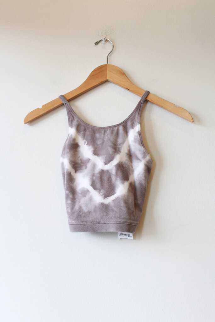 ELECTRIC & ROSE GREY TIE DYE HALTER COTTON BLEND SPORTS BRA SZ S