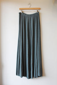 VINTAGE CP SHADES STEEL BLUE RAYON LINEN MAXI SKIRT SZ M