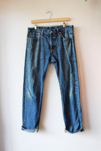 LEVI'S 501 WORN IN JEANS SZ 8 (AS IS: SPOTS + WEAR)