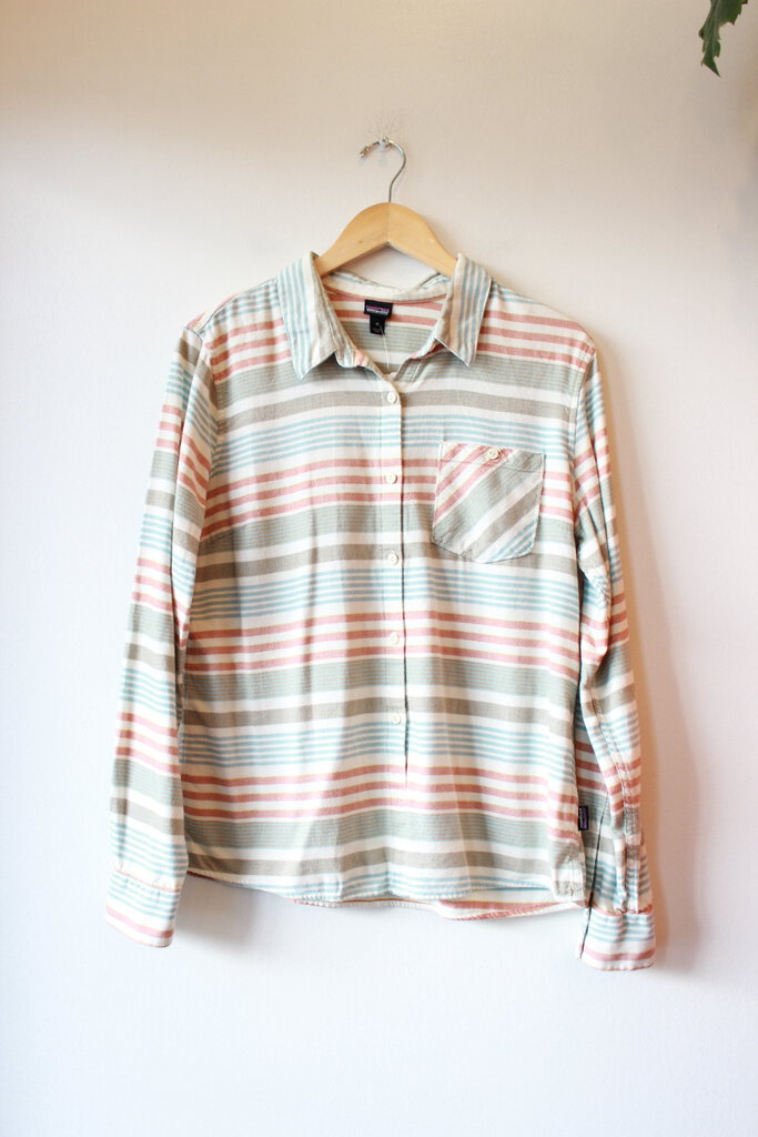 PATAGONIA SAGE BLUE TERRACOTTA STRIPED FLANNEL BUTTON DOWN SZ 10
