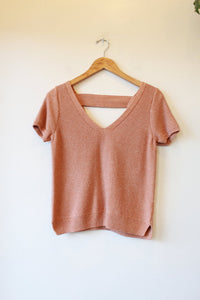 MADEWELL PEACHY SHORT SLEEVE V-NECK SWEATER TOP SZ S