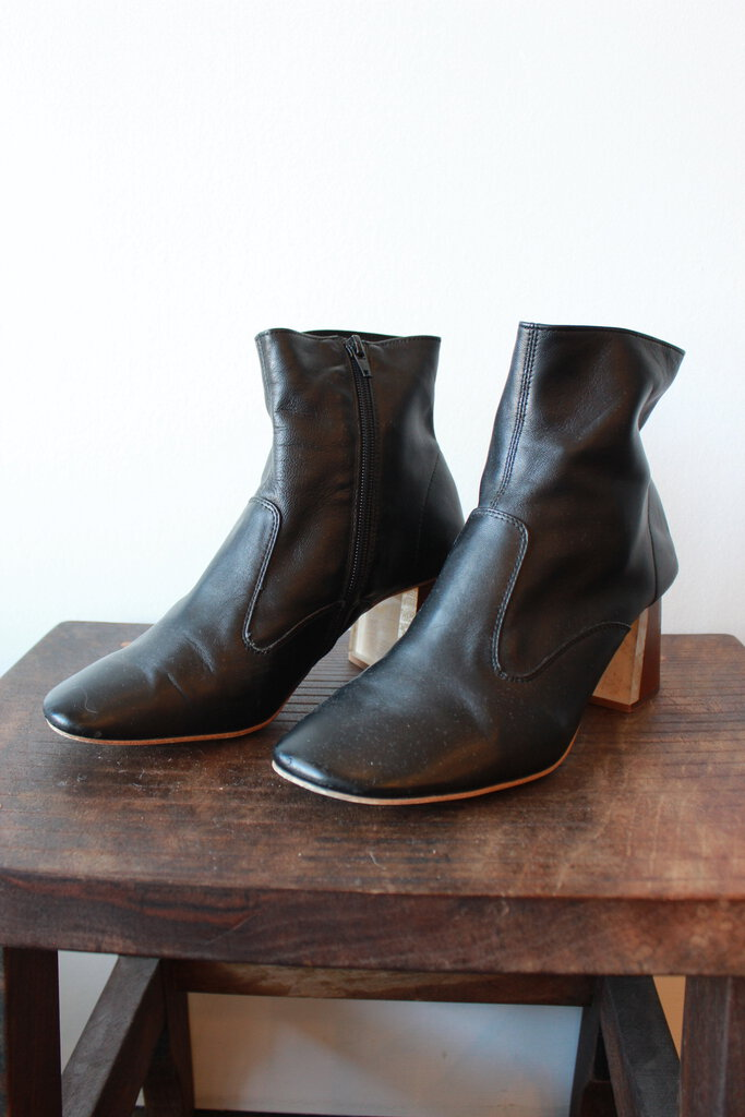 Jeffrey Campbell black leather stack heel glove boot sz 7.5-8 (as is: toe wear)