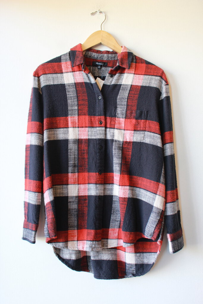 MADEWELL RED NAVY PLAID THICK FLANNEL BUTTON DOWN SZ XS