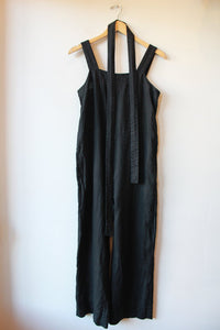 EVERLANE SQUARENECK LINEN JUMPSUIT IN BLACK SZ 2