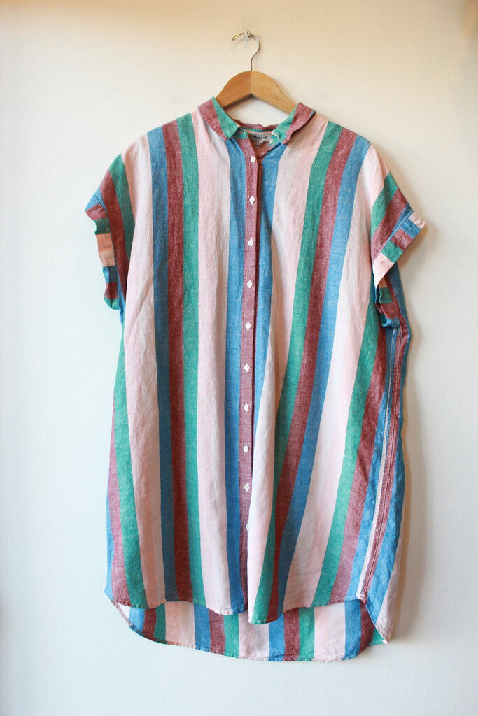 MADEWELL RAINBOW STRIPED SHIRT DRESS SZ XXL (AS IS: COLOR TRANSFER STAINS ON FRONT)