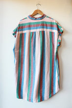 Load image into Gallery viewer, MADEWELL RAINBOW STRIPED SHIRT DRESS SZ XXL (AS IS: COLOR TRANSFER STAINS ON FRONT)