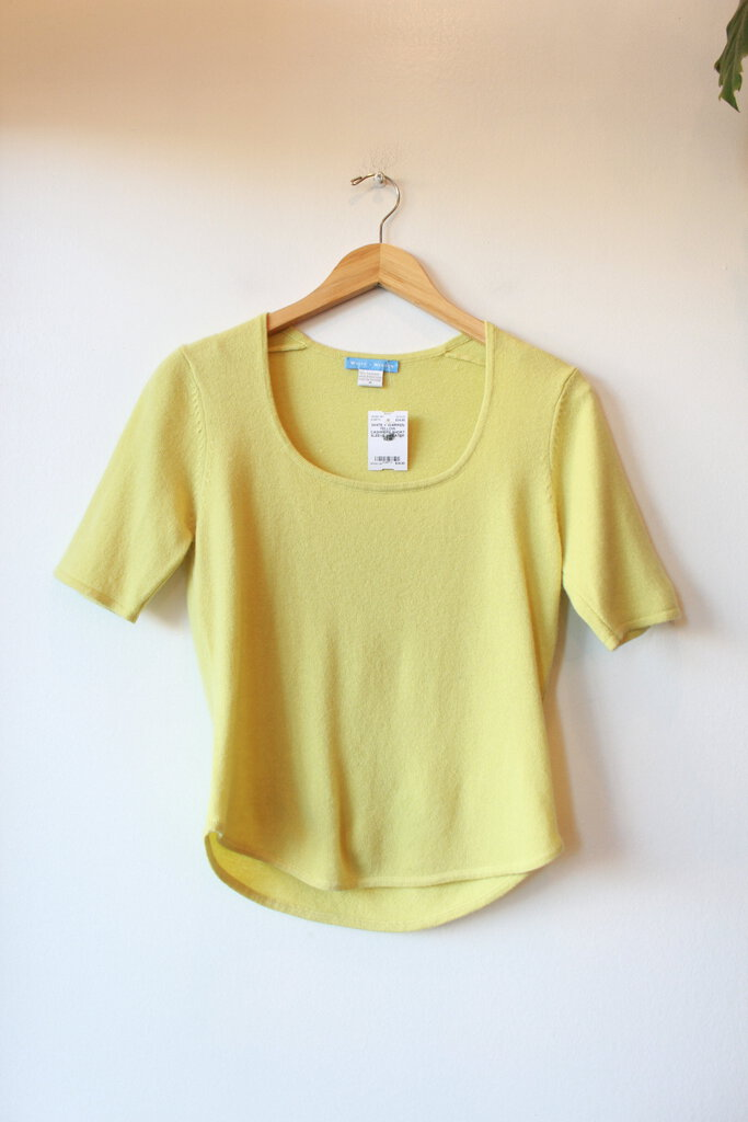 WHITE + WARREN YELLOW CASHMERE SHORT SLEEVE SWEATER SZ M