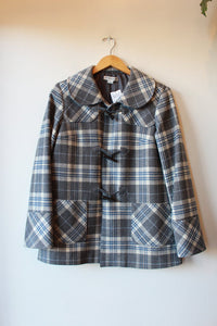 PENDLETON GREY PLAID WOOL TOGGLE COAT SZ S