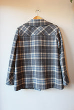 Load image into Gallery viewer, PENDLETON GREY PLAID WOOL TOGGLE COAT SZ S