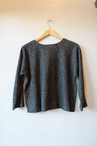 EILEEN FISHER MARLED BLACK GRAY COTTON / WOOL CROPPED SWEATER SZ M