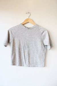 LAURS KEMP HEATHER GREY REWORKED SWEATSHIRT TEE SZ XS