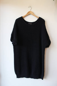 HATCH BLACK CHUNKY SHORT SLEEVE COTTON COCOON SWEATER SZ P