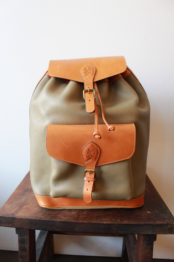 VINTAGE MIKELLY TAN + TAUPE LARGE LEATHER BACKPACK WITH MAGNETIC BUCKLE CLOSURES (AS IS: LINING WEAR)