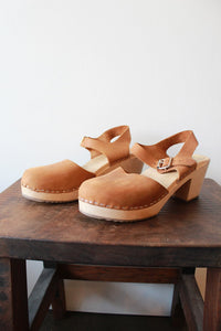 LOTTA'S BROWN LEATHER MARY JANE CLOGS SZ 40/9-10