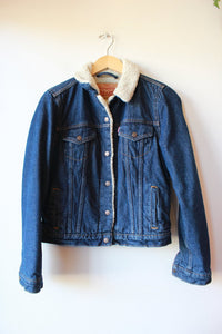 LEVI'S DARK DENIM FLEECE LINED JACKET SZ M