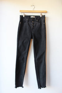 "MADEWELL WASHED BLACK 9"" HIGH RISER RAW HEM SKINNY JEANS SZ 26/2"