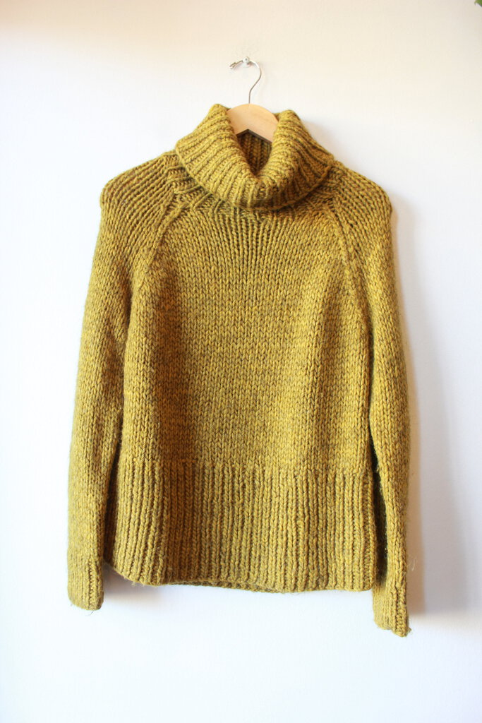 MADEWELL HEATHER MUSTARD GREY WOOL BLEND CHUNKY TURTLENECK SWEATER SZ S