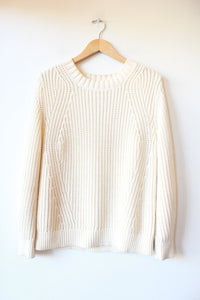 EVERLANE TEXTURE COTTON PULLOVER IN IVORY SZ M
