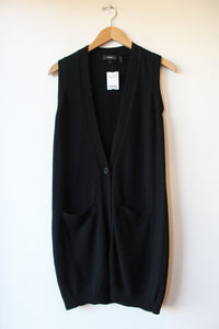 THEORY BLACK CASHMERE LONG VEST SZ S