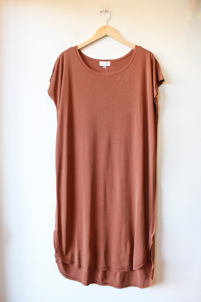 ECOVIBE BROWN KNIT SHIFT DRESS SZ S (AS IS: SPOTS)