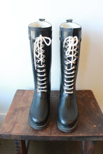 Load image into Gallery viewer, ILSE JACOBSEN TALL LACE UP BLACK RAIN BOOTS SZ 36/6