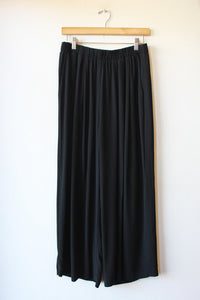 EILEEN FISHER BLACK WIDE LEG ELASTIC WAIST CROPPED SILK TROUSERS SZ S