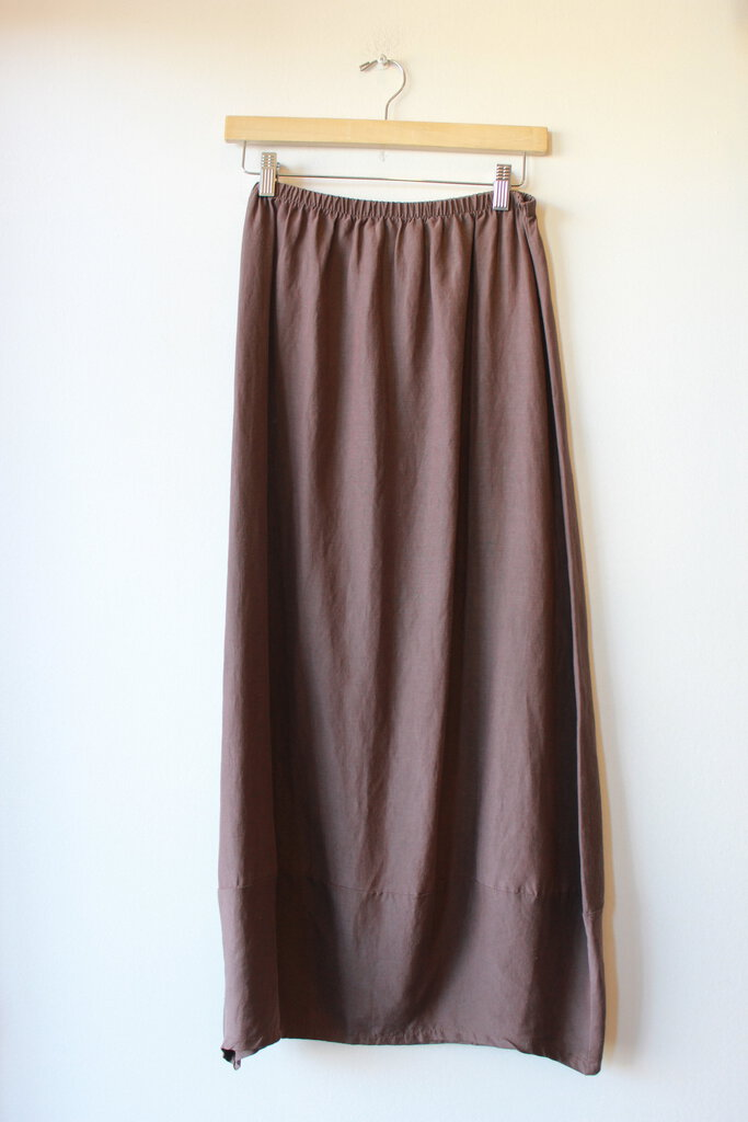 EAST VALLEY ROAD BROWN SILK/LINEN BLEND COCOON SKIRT SZ M