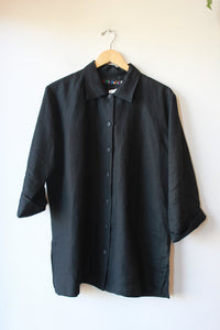JAMS WORLD BLACK LINEN BOXY BUTTON DOWN SZ L