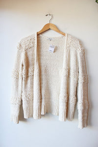 MADEWELL TEXTURED IVORY OPEN CARDIGAN SZ XS