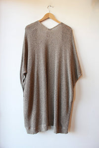 COMMUNITY OATMEAL BLACK HEATHER OPEN COCOON CARDIGAN SZ M/L (AS IS : WEAR)