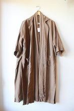Load image into Gallery viewer, OPEN AIR MUSEUM BROWN LINEN DUSTER WITH BELT AND OPEN SIDES SZ S/M