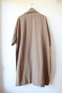 OPEN AIR MUSEUM BROWN LINEN DUSTER WITH BELT AND OPEN SIDES SZ S/M