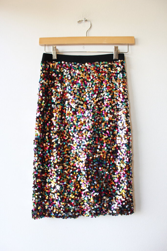 H&M SEQUIN STRETCH SKIRT SZ 4