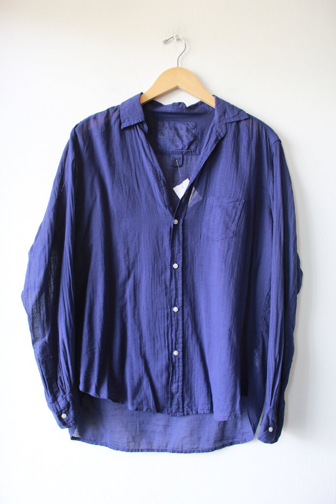 FRANK & EILEEN 'EILEEN' SHIRT IN FINE NAVY COTTON SZ M