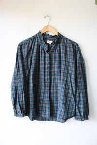 MADEWELL NAVY GREEN PLAID POPOVER WITH RUFFLED EDGE SZ L NWT