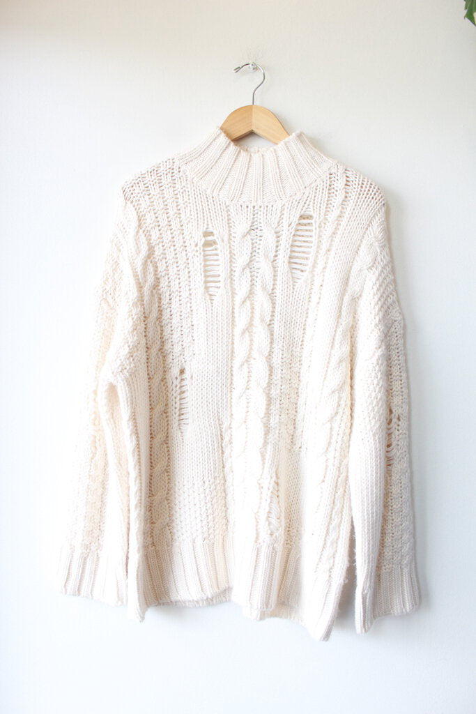 CURRENT ELLIOTT DISTRESSED IVORY WOOL BLEND CHUNKY SWEATER SZ 1/S NWT