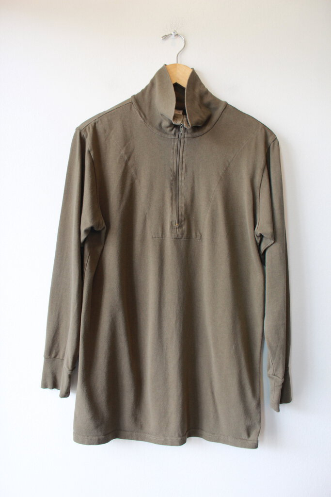 VINTAGE GERMAN OLIVE COTTON 1/2 ZIP PULLOVER SZ S/M