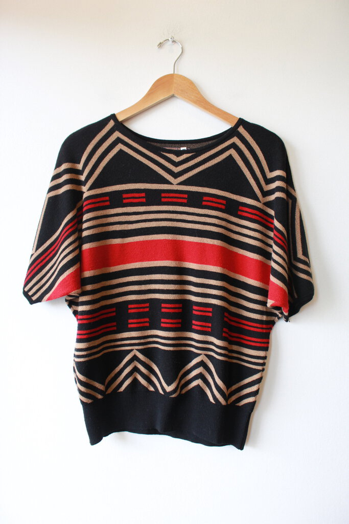 PENDLETON PORTLAND COLLECTION BLACK RED TAN MERINO SWEATER TOP SZ M