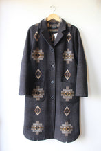 Load image into Gallery viewer, PENDLETON CHARCOAL TAN JACQUARD WOOL LONG COAT SZ S (RETAIL $499)